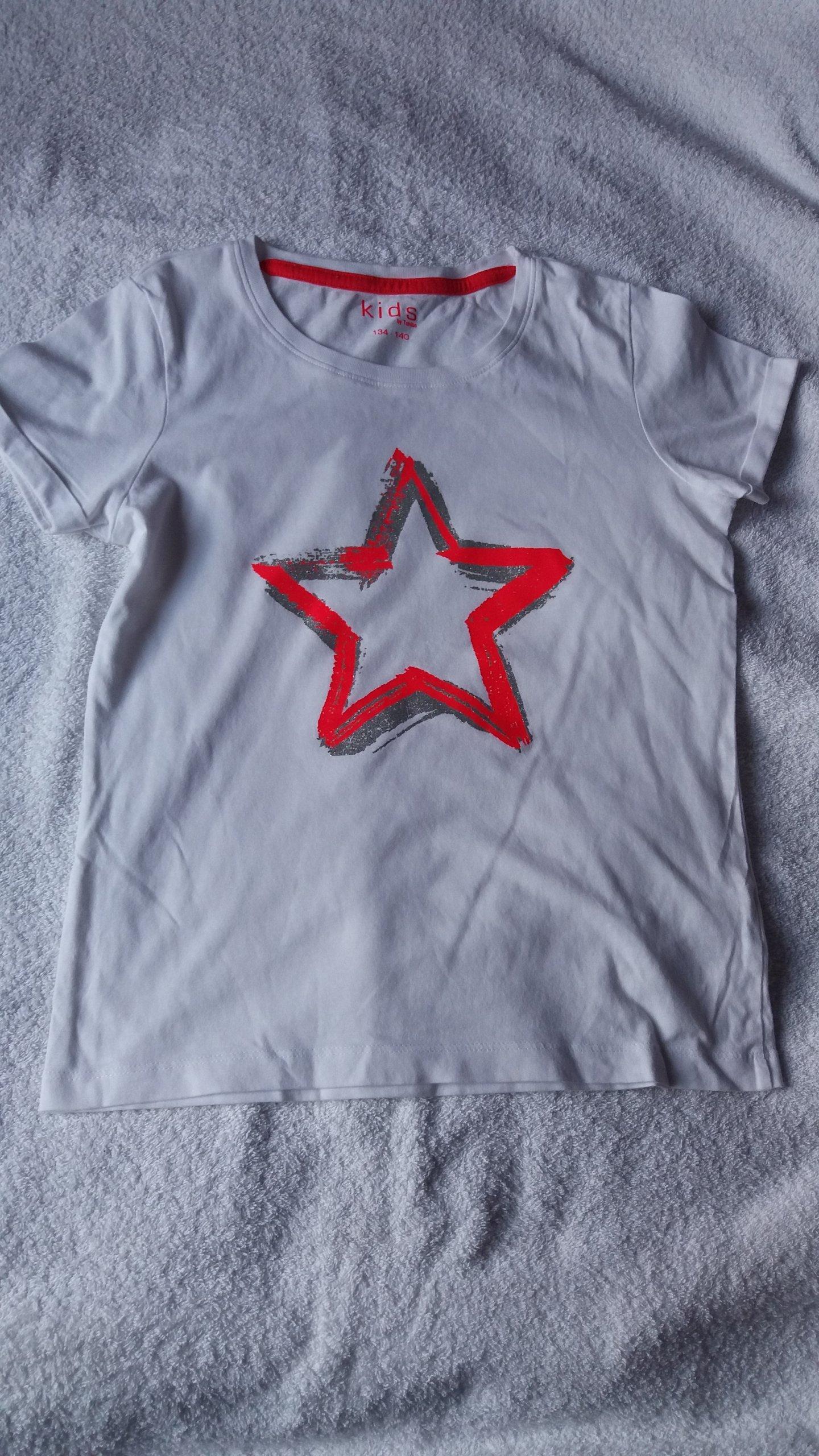 8a4173fe4d1325 TCHIBO Bluzka koszulka biała rozmiar 134-140 - 7394123284 ...