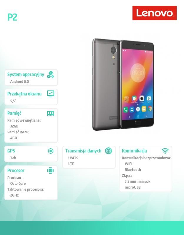 Smartfon Lenovo P2 4GB/32GB LTE Dual SIM szary - 7534033629
