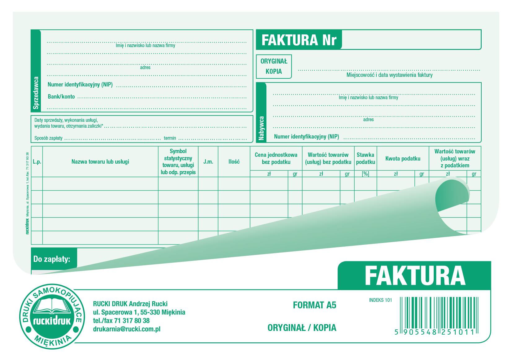 Druk Faktura Vat A5 80 Kartek 7274317413 Oficjalne Archiwum Allegro