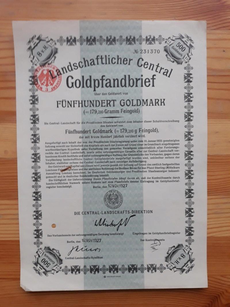 LANDSCHAFTLICHER CENTRAL GOLDPFANDBRIEF