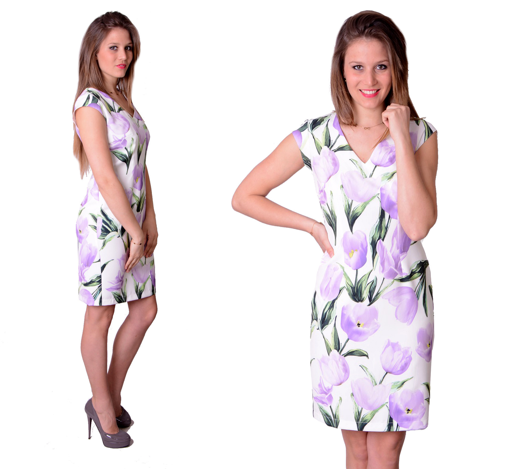 c680167f6d WYPRZEDAŻ Sukienka Fiolet Tulipany PRODUCENT r. 38 ...