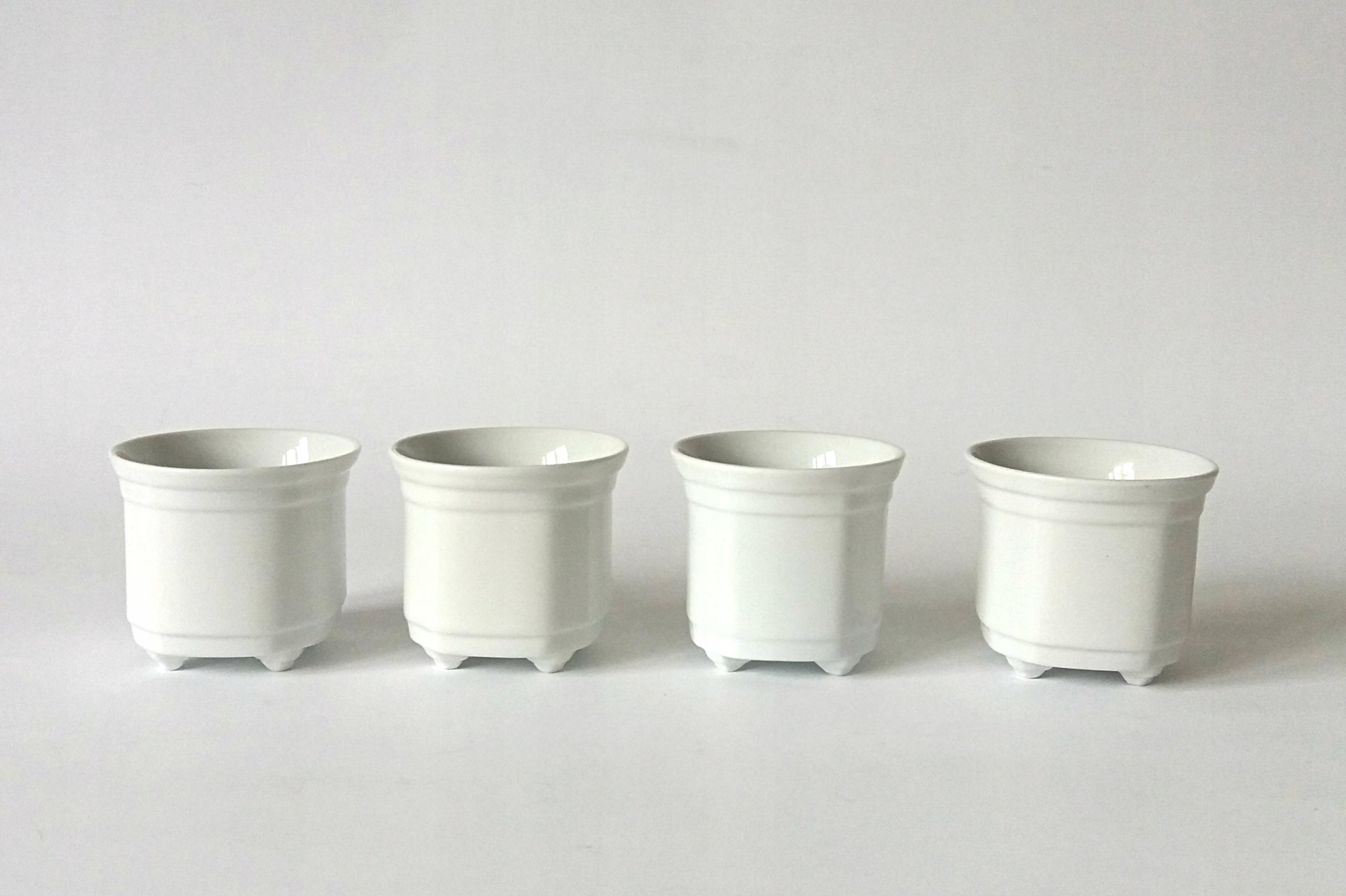Doniczki Białe Ceramiczne Komplet 4 Szt Bcm