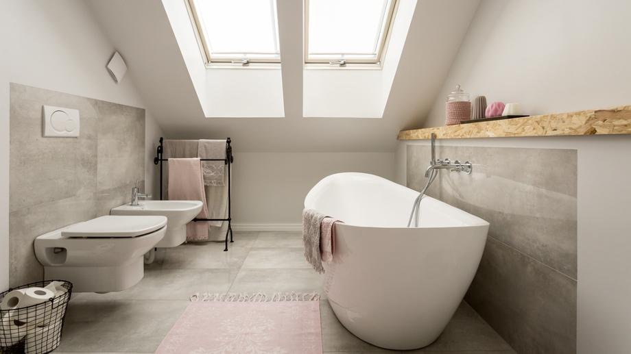 łazienka W Szarości I Różu Beton I Kolorowe Dodatki Allegro