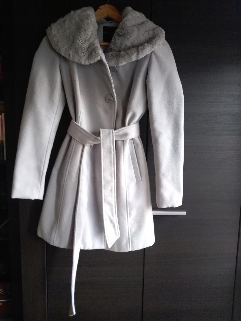 MOHITO płaszcz szary płaszczyk wiązany 34 XS szlafrokowy
