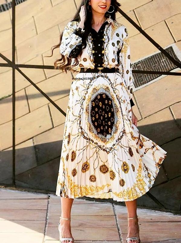 Blogerska Spódnica Plisowana w Łańcuchy ZARA L