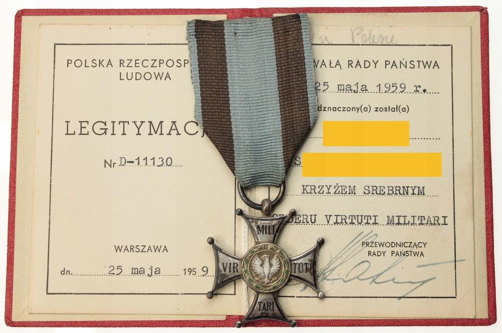 PRL Virtuti Militari z legitmacją po kapitanie