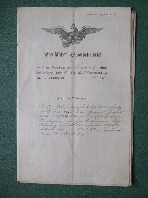 Pruski List Hipoteczny Lengerich Tecklenburg 1903