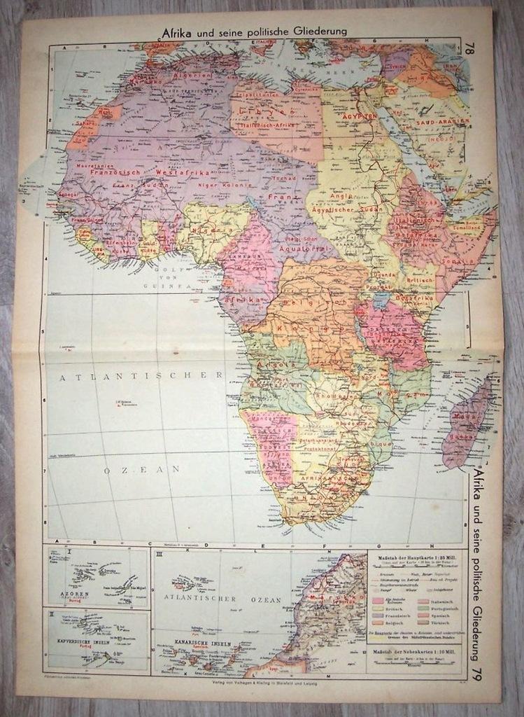 AFRYKA MAPA POLITYCZNA. 1941.