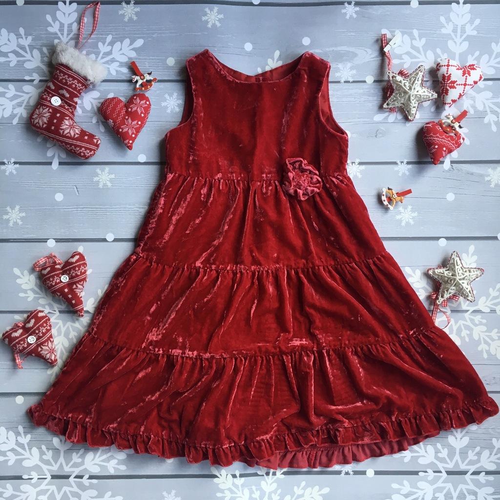 H&M czerwona sukienka 104 3 4 lata Święta