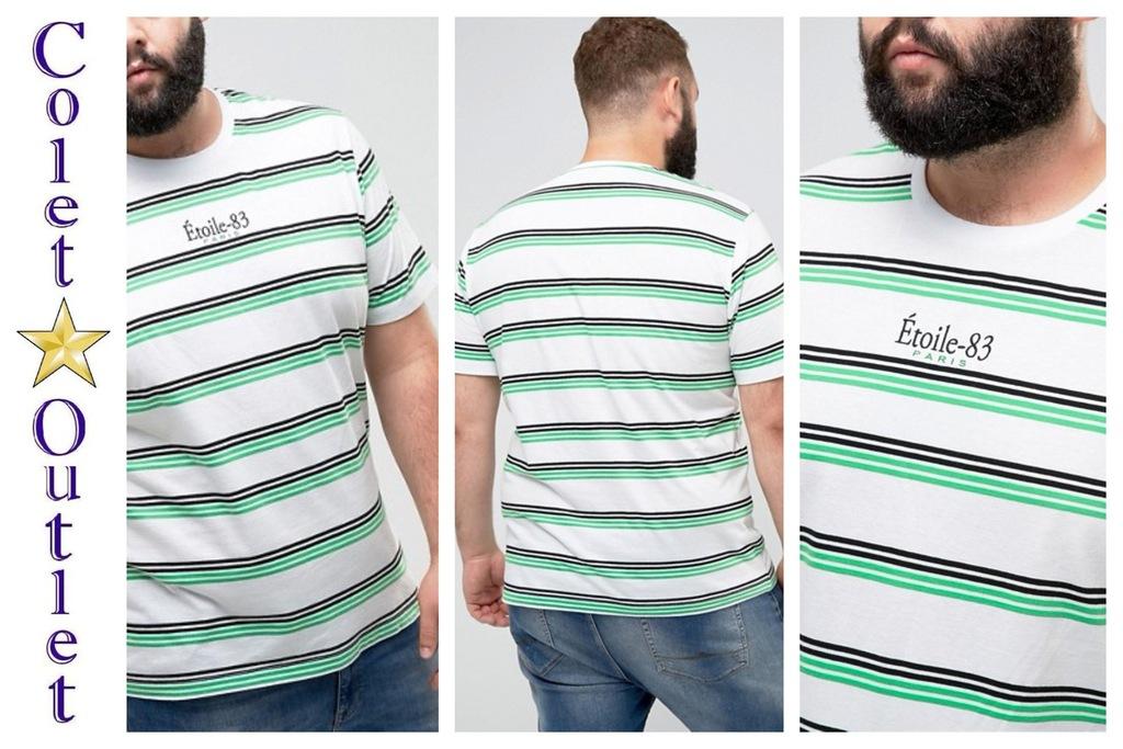 mp54 koszulka T-shirt paski biała duży rozmiar 3XL