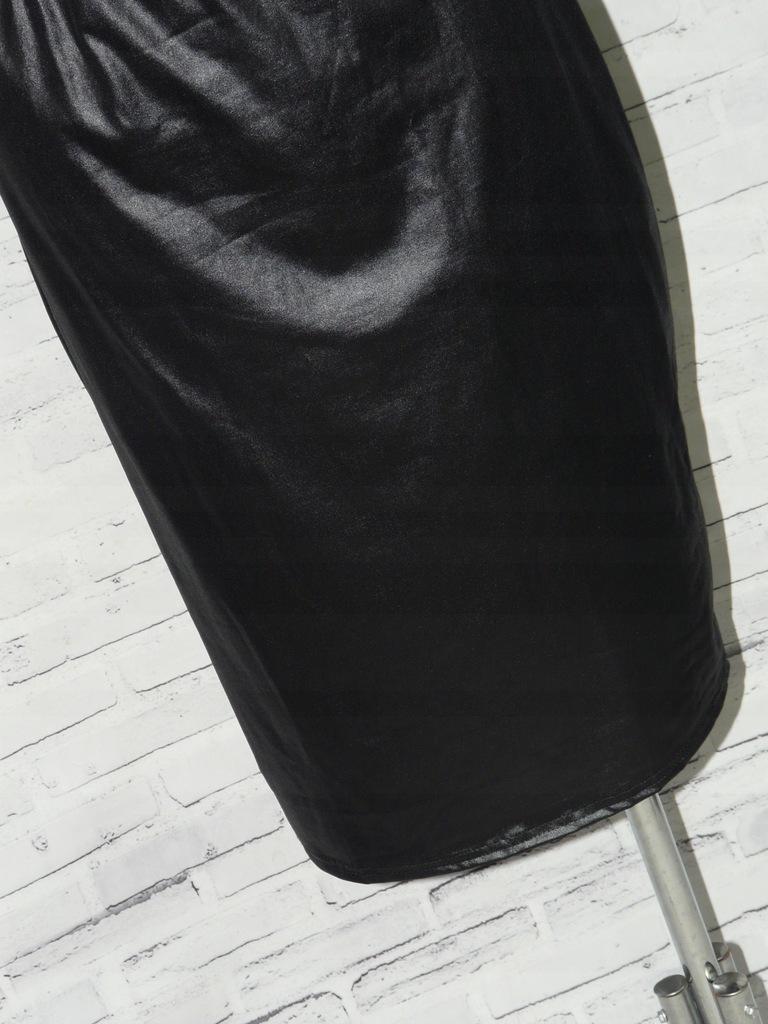 BOOHOO czarna vinylowa spódnica latez guma 48
