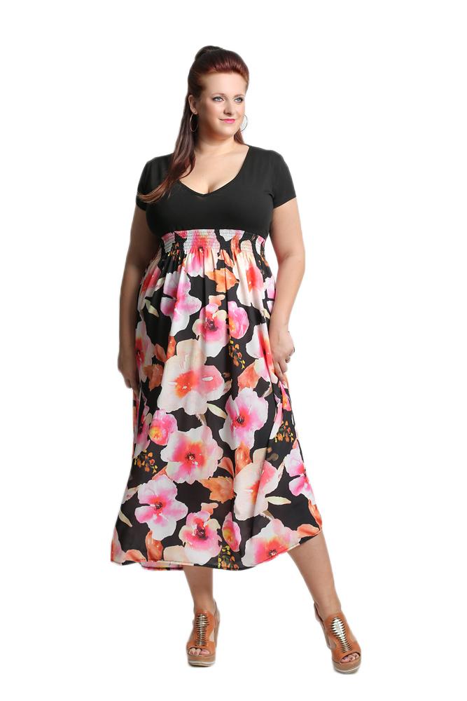 Kwiecista sukienka MAXI dla puszystych R09 3XL