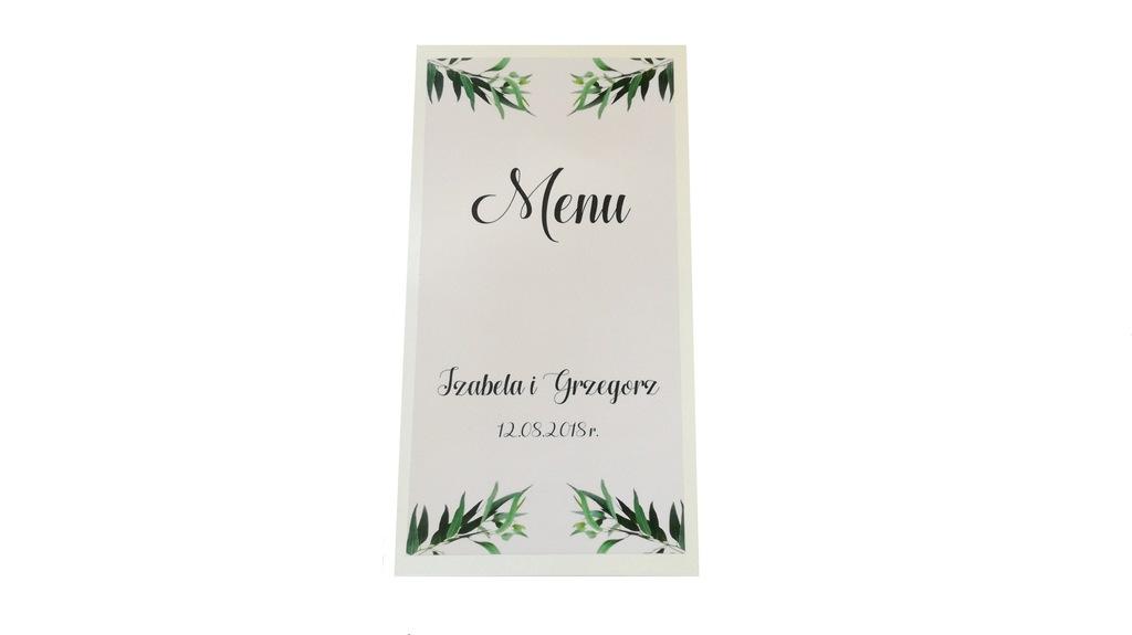 Menu weselne EUKALIPTUS botaniczne liście zielone