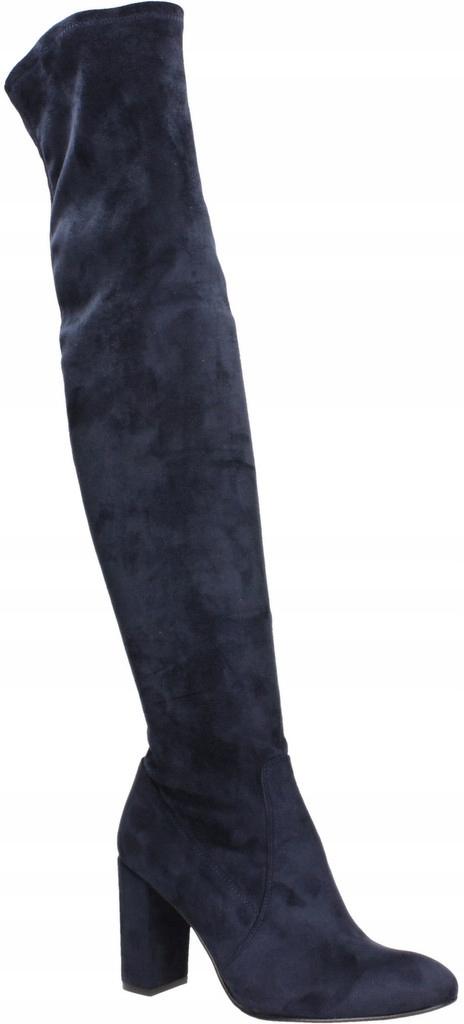 Kozaki SKÓRA naturalna, r. 36, granat, do kolan