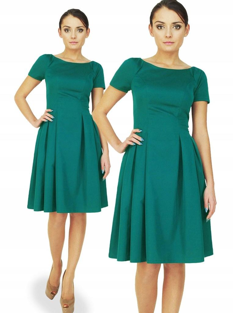 Camill182 sukienka kontrafałdy z rękawem kolory 40