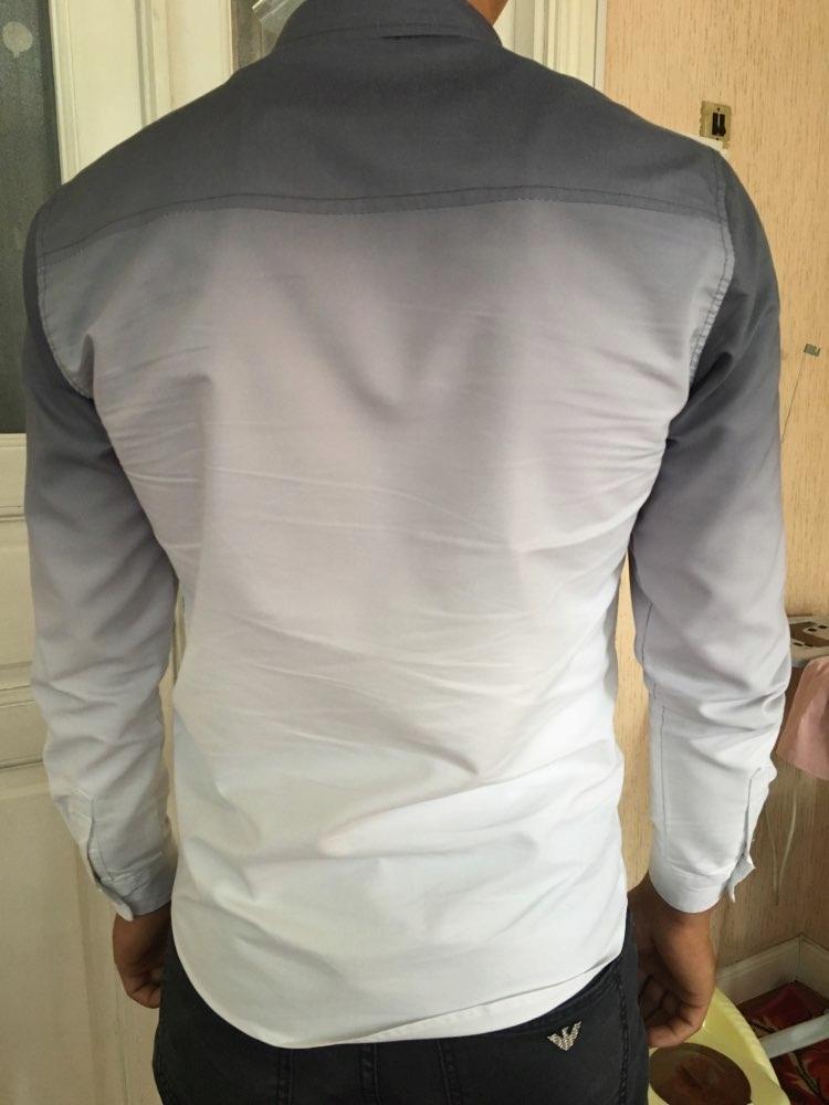 Koszula męska ombre gradient dwukolorowa biała S  g0fXV