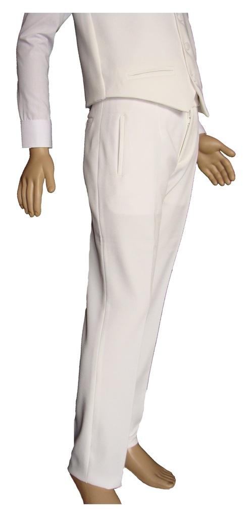 Spodnie młodzieżowe chłopięce białe wzrost od 175