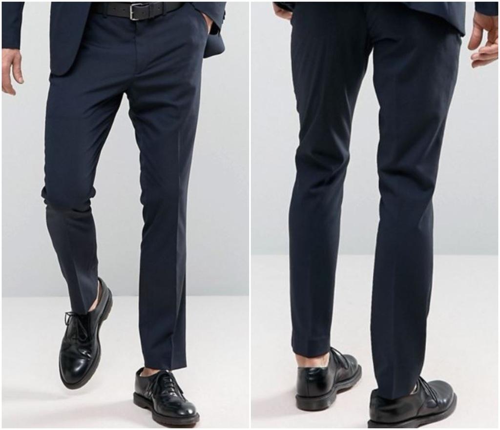 P21 spodnie garnitur eleganckie granatowe W30 L30