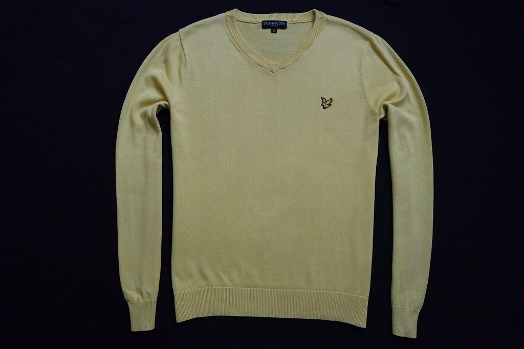 LYLE SCOTT sweter sweterek żółty logowany modny__M