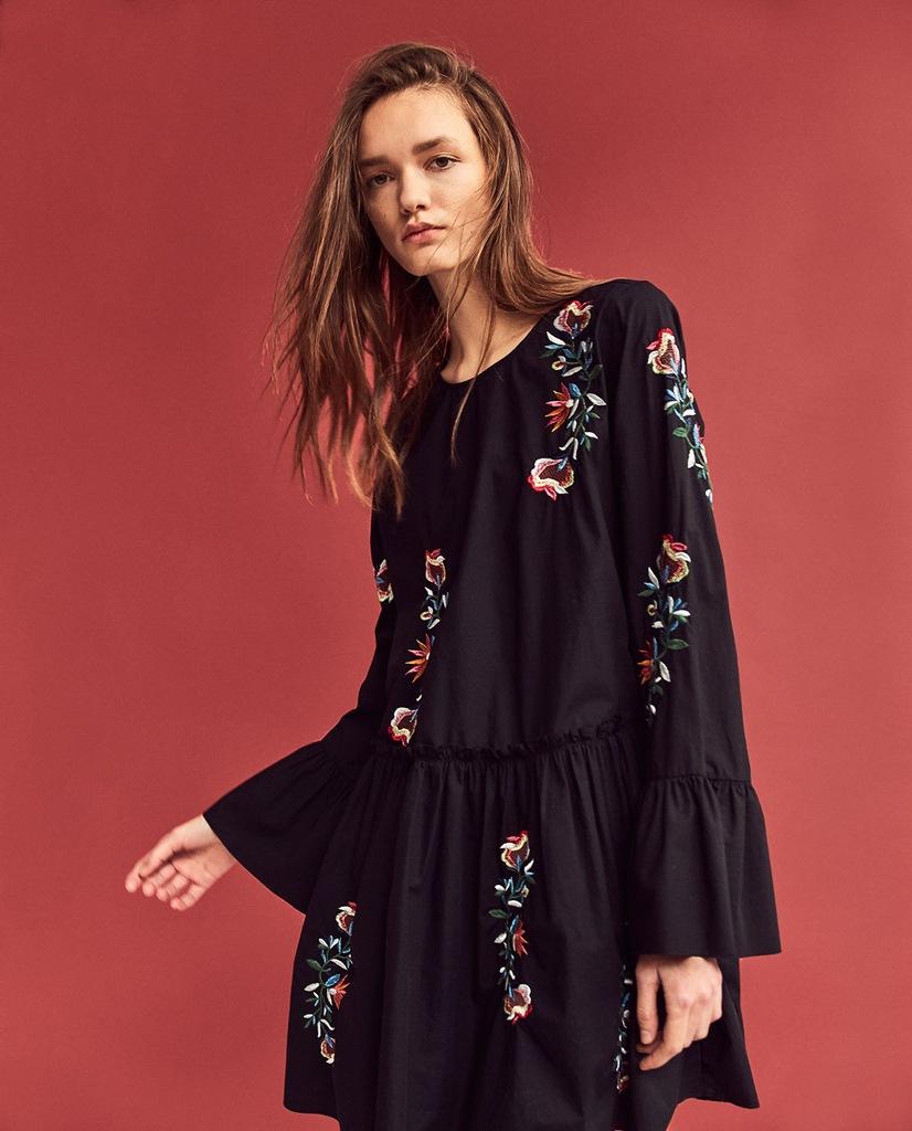zara* śliczna czarna sukienka hafty falbany m 38 Galeria
