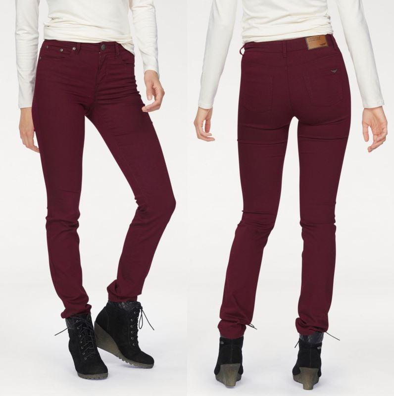 spodnie jeansowe bordowe