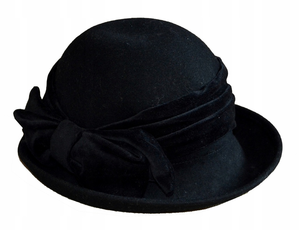 Czarny kapelusz z kokardą wełna