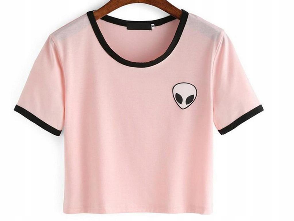 bluza aliens różowa crop