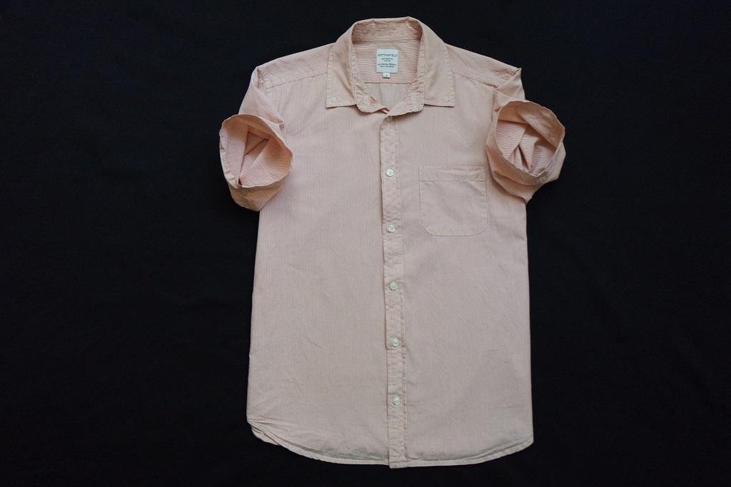 COTTONFIELD koszula pomarańczowa paski logowana__M