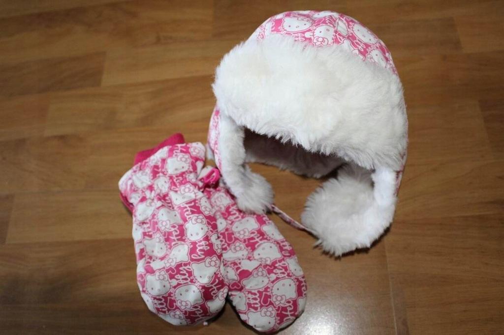 czapka zimowa 98-104 i rekawiczki H&M Kitty