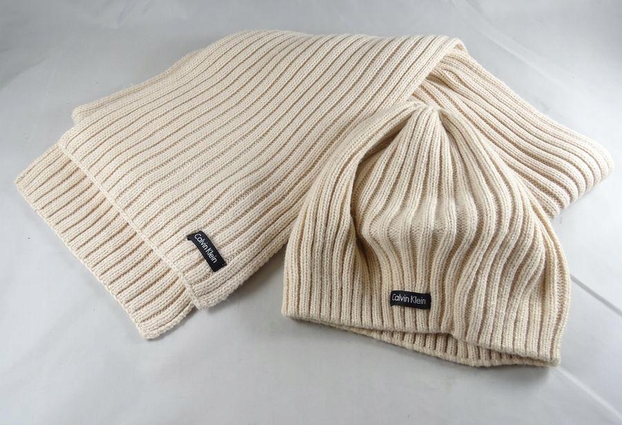 Calvin Klein czapka duży szalik IDEALNE