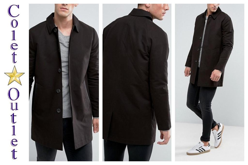 mr28 płaszcz męski czarny jednorzędowy trencz M