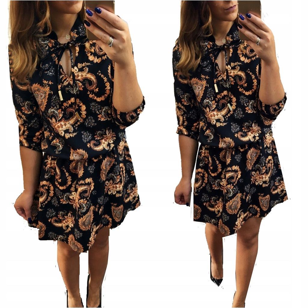 Sukienka Czarna Złoty Wzór Ornamenty Rozkloszowana