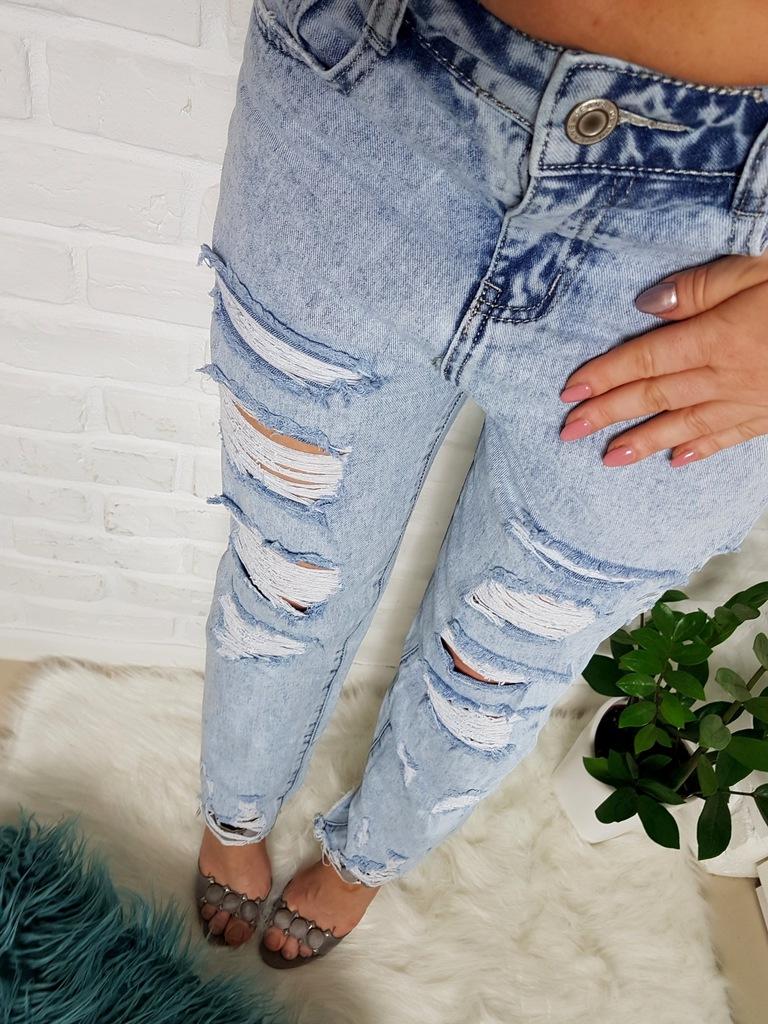 jeansy spodnie BOYFRIEND DZIURY PRZETARCIA S HIT