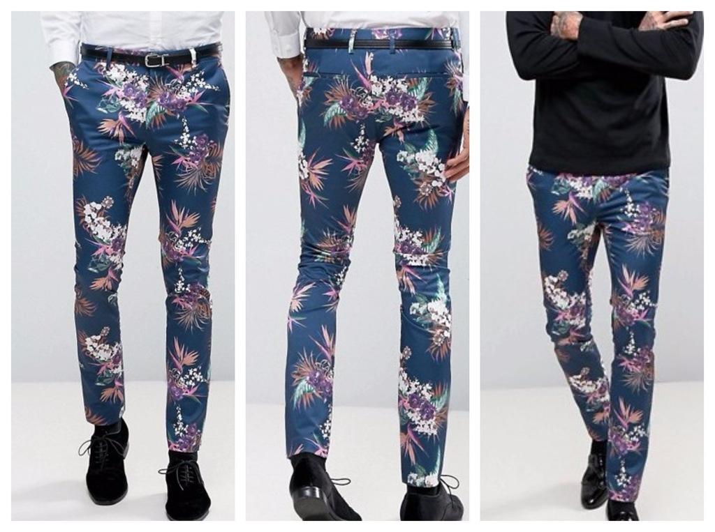 spodnie slim  impreza kwiaty sylwester 34 36