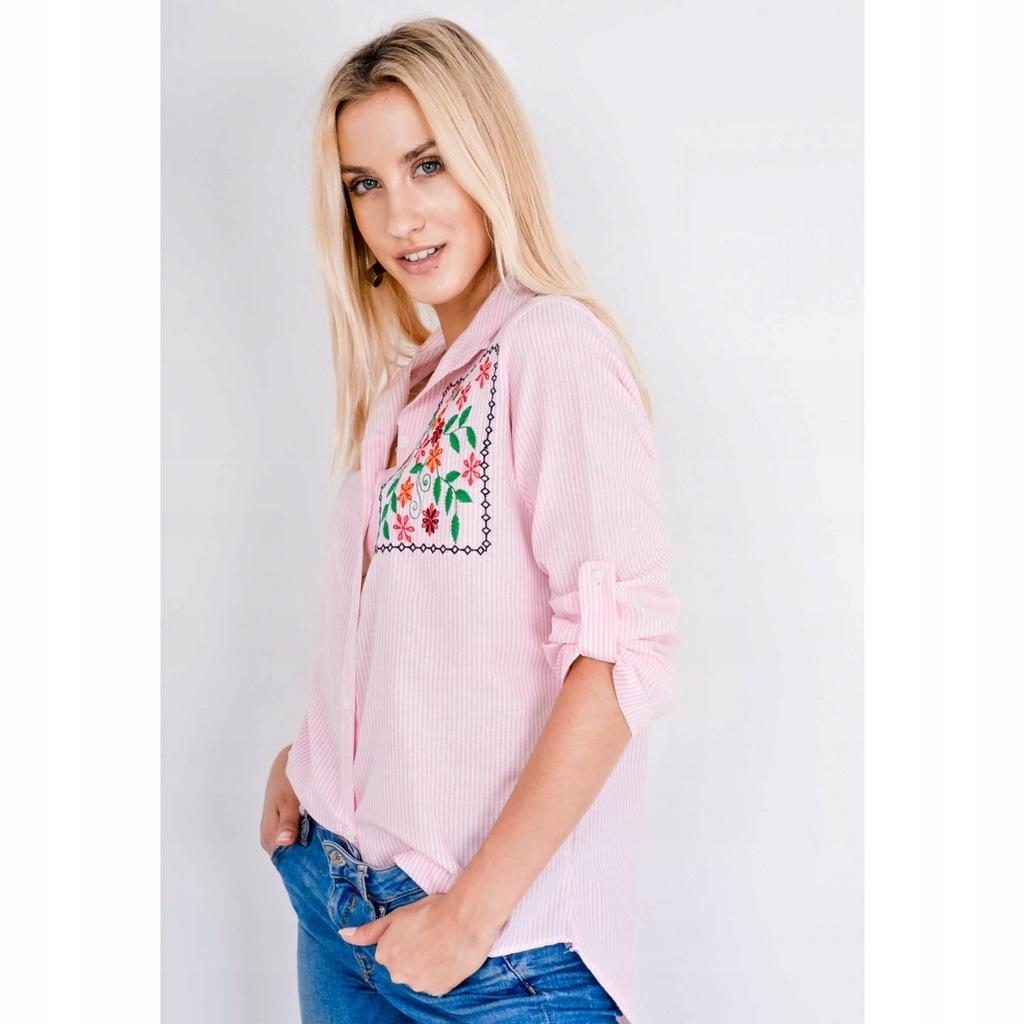 Koszula w paski, kwiatowy haft, rozm. L ZOIO 7667721679  PiNks