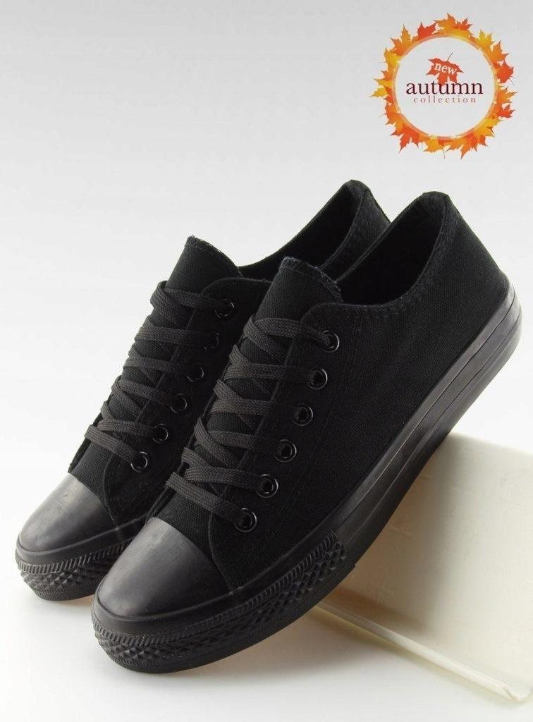 Trampki damskie klasyczne czarne XL03 ALL BLACK 39