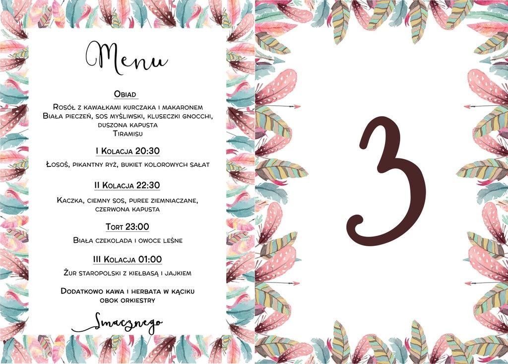 Menu weselne+numer stolika karta dań ślub boho
