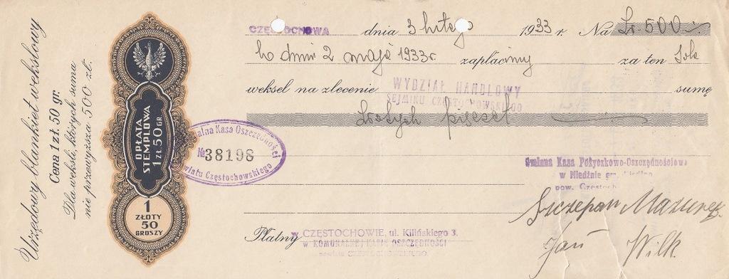 SEJMIK Częstochowa 1933 Weksel