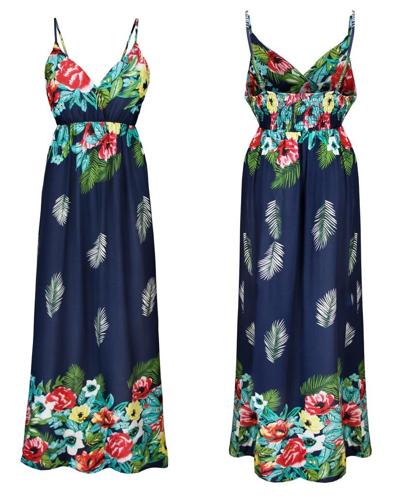 Wakacyjna Maxi Sukienka Na Ramiaczkach Kwiaty Lato 7437472796 Oficjalne Archiwum Allegro