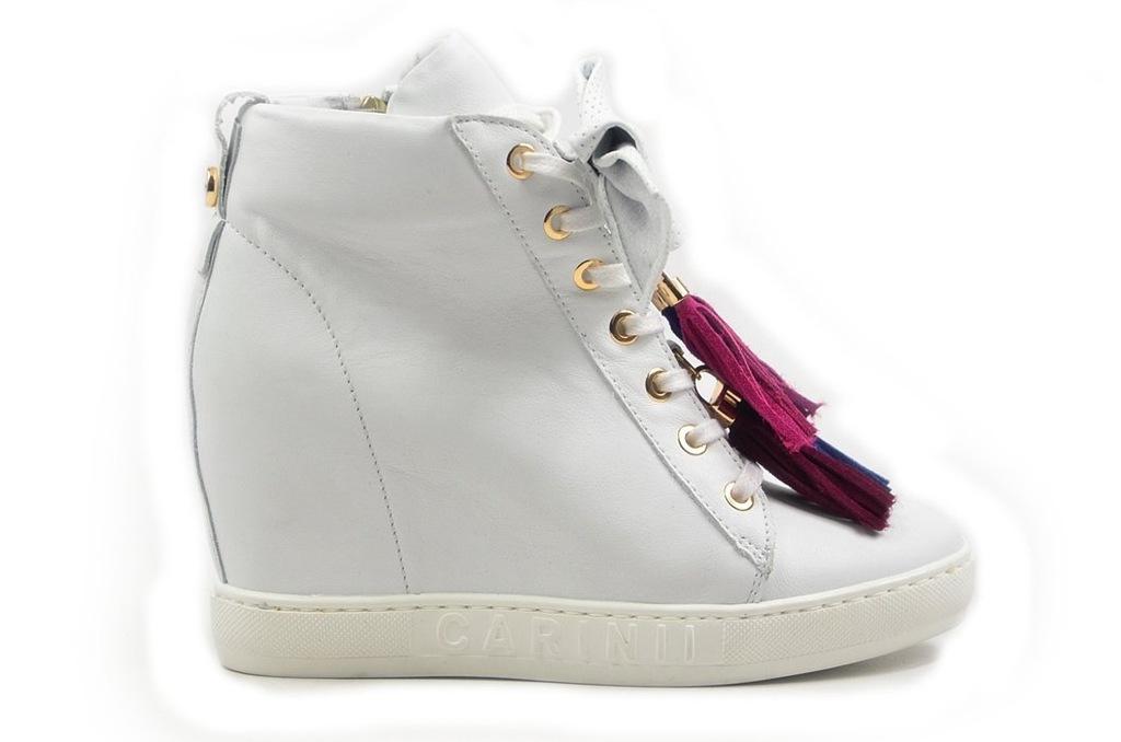 Botki 40 sneakersy Carinii B4401 białe skózane