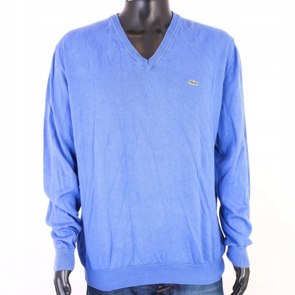 T Lacoste Sweter Męski V-Neck Bawełna Blue roz 6