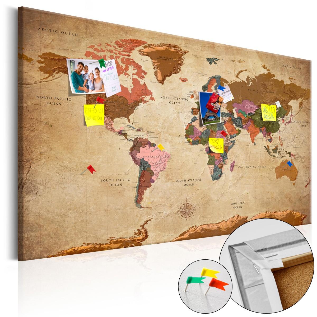 a812a754f10f13 Przedmiotem aukcji jest: Obraz na korku - Mapa świata: Brązowa elegancja [Mapa  korkowa] w rozmiarze 120x80