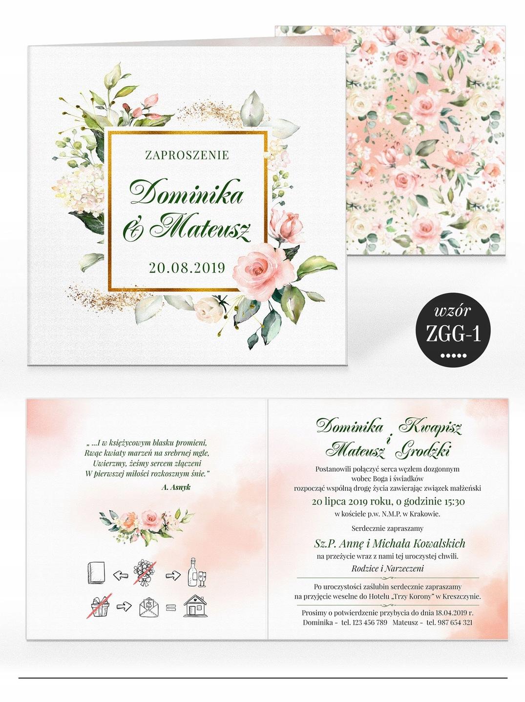 Zaproszenia ślubne Rustykalne Kwiaty Koperta 7584587654 Allegropl