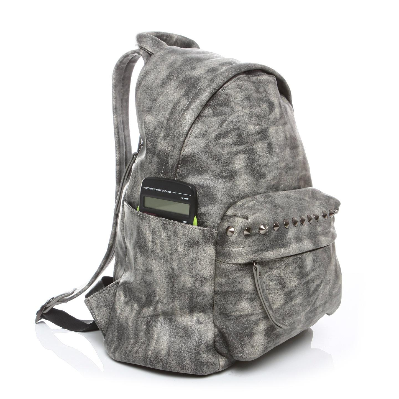 29827574654e7 Skórzany plecak damski SZARY markowy z ĆWIEKAMI 20GZ. Modny damski plecak w stylu  vintage ...