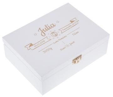 Krabica spomienok BIELE osvedčenie, darček KRST