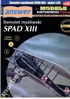 MKF 9-10/2006 Samolot myśliwski SPAD XIII 1:33