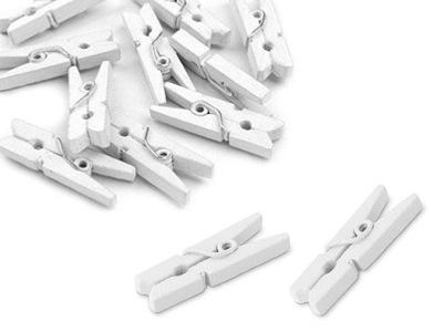 мини зажимы СКРЕПКИ деревянные 20 штук белое