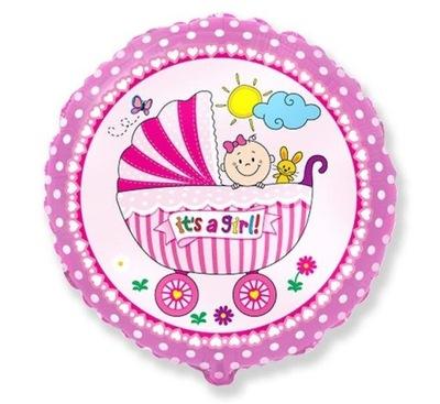 Balon foliowy Wózek BOY AŻ 46cm Roczek Baby Shower