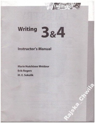 Tapestry Writing 3 & 4 Instructor's Manual NOW