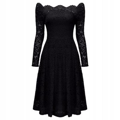 7d1e390f23 Włoska koronkowa sukienka czarna biała haft XL 42 7685971436 ...